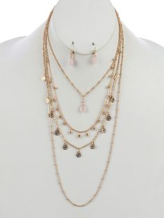 FLORAL COIN FRINGE MULTI LAYER NECKLACE AND EARRING SET