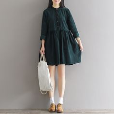 1041 # 2016 autumn and winter new art vintage cotton corduroy retro long wind dress_Dresses_Women fashion clothes_Wholesale Cheap Clothes,Women's Fashion Clothing Online Stores at aoppy.com global mall