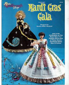 Join in the celebration as you dress your 11 1/2 Fashion Doll in one of these gowns crocheted using size 10 cotton thread. These two gowns are