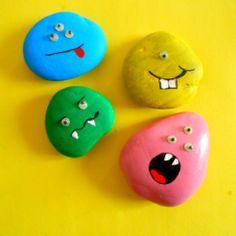 Rock Monsters. Find an assortment of smooth rocks and paint with colorful acrylic paints. Draw on details using Sharpie marker and glue on googly eyes. Too cute!
