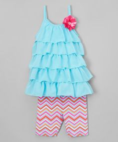 Look what I found on #zulily! Blue Ruffle Tank & Zigzag Leggings - Infant, Toddler & Girls #zulilyfinds