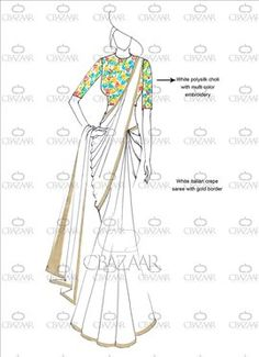 Buy DIY White Italian Crepe Saree online from the wide collection of sari. This White colored sari in Faux Crepe fabric goes well with any occasion. Shop online Designer sari from cbazaar at the lowest price. Dress Design Sketches, Fashion Design Sketchbook, Fashion Design Drawings, Fashion Sketches, Fashion Illustration Template, Fashion Illustration Dresses, Dress Illustration, Fashion Drawing Dresses, Fashion Figures