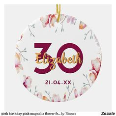 birthday pink magnolia flower frame on white ceramic ornament 30th Birthday Party For Her, 70th Birthday, Magnolia Flower, Flower Frame, Burgundy Color, White Ceramics, Pink Purple, Hand Lettering, Party Supplies