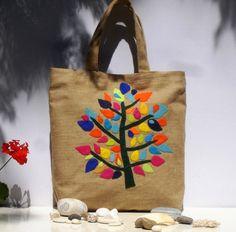 Tote bag with colorful treeChic Juteversatileburlap by ApopsiS