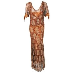 Preowned 1930's Golden Floral-lace & Chiffon Bias-cut Deco Hourglass... ($1,100) ❤ liked on Polyvore featuring dresses, gowns, brown, evening gowns, lace evening dresses, floral gown, floral lace dress, lace dress and chiffon gowns