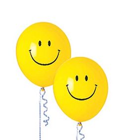 Your party guests will be all smiles with fun balloon decorations like these Smiley Face balloons floating around.