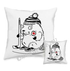 """For the hockey fans! The very new addition to the AnizetDesigns pocket pillow collection , """"Hockey Beaver"""" — Northern Friends collection— Fabric Design, Home Accessories, Hockey, Eco Friendly, Fans, Snoopy, Pillows, Friends, Handmade"""