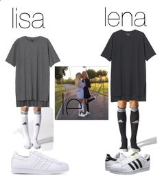 lisa and lena by blah101today ❤ liked on Polyvore featuring Monki, adidas and adidas Originals