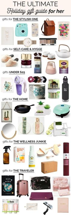 The Ultimate Holiday Gift Guide for Her | A thoughtfully curated gift guide with over 50 gift ideas for every girl in your life including: gifts for the stylish girl, gifts for self-care and hygge, gifts for the home, gifts for the wellness lover, and gifts for the traveling girl. Many gifts are from sustainable and ethical brands, and others are non-toxic products. This is the only gift guide for her you will need this Christmas! #giftguide #giftsforher #giftidea