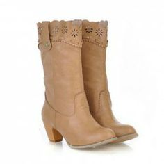 $22.11 Laconic Casual Women's Boots With Solid Color and Openwork Design