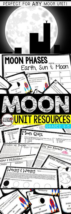 All About Our Moon (Moon Phases)  This resource is perfect for a review of moon phases. Use as student desk work or center work. A 3-page quiz which includes 24 multiple choice questions -10 pages included in all. Use as a supplement to any moon unit.