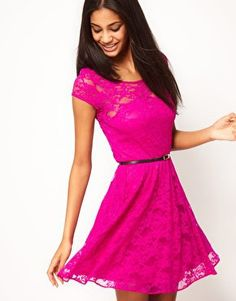 Lace Skater Dress with Belt from asos. Saved to One-pieces. Shop more products from asos on Wanelo. Cute Dresses, Beautiful Dresses, Cute Outfits, Summer Dresses, Dressy Dresses, Latest Fashion Clothes, Fashion Outfits, Womens Fashion, Skater Dress