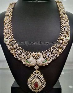 Jewellery Designs: Peacock Theme Diamond Haram