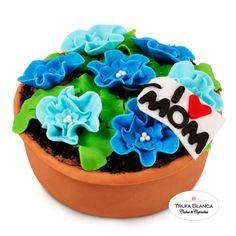 Mothers day fondant cake Pastel de maceta con flores de fondant para el dia de la madre Flowers fondant cake