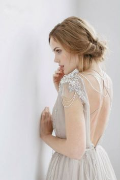 dove grey backless wedding dress with hand beaded detail