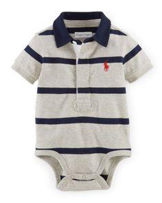 Striped Cotton Polo Bodysuit - Baby Boy One-Pieces - RalphLauren.com