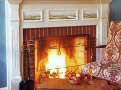 Essential Fireplace Accessories : Interior Remodeling : HGTV Remodels look at the beautiful little landscapes Wood Burning Fireplace Inserts, Fireplace Tile Surround, Small Fireplace, Fireplace Tools, Brick Fireplace, Fireplace Surrounds, Fireplace Design, Fireplace Mantels, Fireplace Update