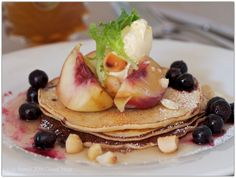 Peach and blueberry hotcakes with macadamias, mascarpone and maple syrup // bizzy lizzy's good things