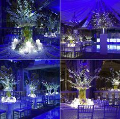 love the stems of orchids and would incorporate with iced branches and a base of carnations, hydrangea and roses,  maybe build up the base with artificial snow and surround by candles and votives for the tall centerpieces.  However, not feeling the green stems showing for our winter wedding.  Maybe even have a fabric covered embellished box with flowers at base.