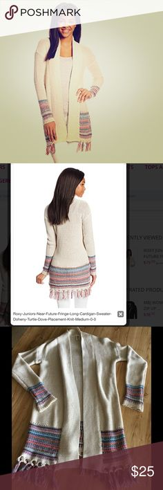 Roxy Juniors Near Future Long Cardigan Done you Turtle Dove Placement Knit, Medium 3gg long cardigan sweater Multi colored jacquard stitch HPS 39inch/100cm. NWOT Roxy Sweaters Cardigans