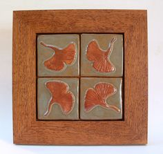 Four Gingko/Ginkgo tiles arranged in one frame by FayJonesDayTile