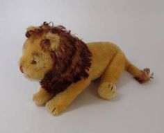 Jointed Stuffed Lion Late 1940's Made in US Zone Germany Original Steiff Stuffed Animal.