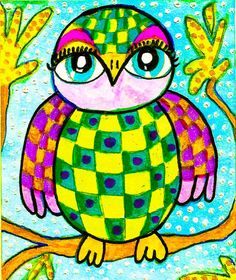 Bright greens, pinks and yellow add a lively and Spring-like feel to this cute little owl. I couldnt help but add a checked pattern to fancy