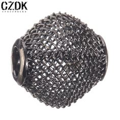 BE-89 12x12mm Fashion Round Steel Wire Metal Bead Charm Bead European Big Hole Loose Bead Amazing Alloy Bead Fit BIAGI Bracelet