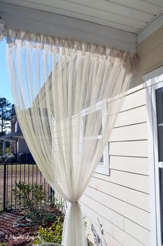 """DIY Screened Porch"" Sheer Curtains--18 months later 