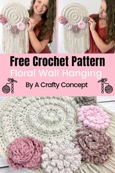 Beginner Crochet pattern for how to crochet a floral wall hanger! This crochet wall hanger pattern is a quick project and its a free crochet pattern! patterns free quick Free Crochet Pattern for a Floral Wall Hanger Improve y Filet Crochet, Mandala Au Crochet, Crochet Gratis, Hairpin Lace Crochet, Crochet Yarn, Crochet Geek, Tapestry Crochet, Quick Crochet Patterns, Crochet Simple