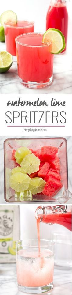 Looking for a healthy summer cocktail recipe? Try these Watermelon Lime Spritzers! Theyre only three ingredients, sweetened naturally, and are light, crisp and refreshing! Beste Cocktails, Healthy Cocktails, Fun Cocktails, Cocktail Drinks, Fun Drinks, Alcoholic Beverages, Drambuie Cocktails, Rumchata Cocktails, Cold Drinks