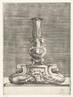 Kandelaar waarop een krab hangt tussen twee hermen, Anonymous, Enea Vico, c. 1500 - c. 1600