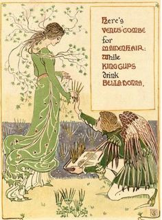 "nature-and-culture: "" the-two-germanys: "" Here's Venus' combe for maidenhair, while King cups drink belladonna. A Floral Fantasy in an Old English Garden Walter Crane London: Harper & Bros., "" Walter Crane – was an English artist. Walter Crane, Art Nouveau, Art Deco, John Everett Millais, English Artists, Flower Fairies, Arts And Crafts Movement, Fantasy, Old English"