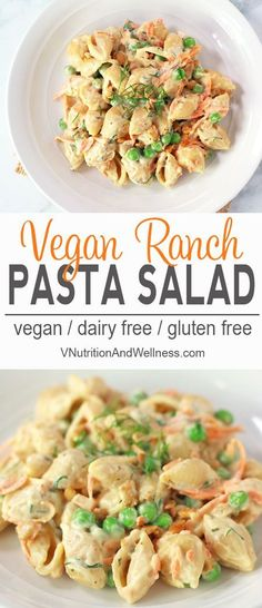 Vegan Ranch Pasta Salad | Easy to make and much healthier than those boxed pasta salads, my tasty Ranch Pasta Salad would be perfect for BBQs, potlucks or parties! Click to read more or repin to save for later! via @VNutritionist