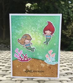 Mermaid For You stamp set from Lawn Fawn. Card by Mocha Frap Scrapper