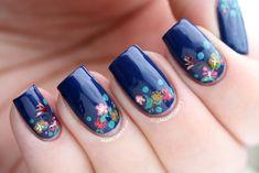 Manicurity.com   Teeny Tiny Flowery Half-Moon Nails - small freehand floral nail art using all China Glaze polishes