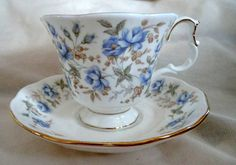 Royal Albert Vintage Tea Cup and Saucer - Blue Gown, Rose Chintz Series. Gorgeous Delicate Blue Roses, Floral Patterned Tea Set Duo.