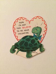 32 Vtg 60's Anthromorphic Turtle Slow Hallmark Valentine Card   eBay
