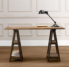Love love love this trestle desk. Definitely need a trestle desk in the new home office! This one is from Pottery Barn or Restoration Hardware I believe. Kids Bedroom Furniture, Living Room Bedroom, Cool Furniture, Office Furniture, Dream Bedroom, Garden Furniture, Painted Furniture, Furniture Ideas, Bedroom Ideas