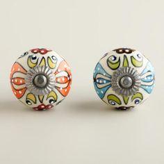 Embossed Floral Ceramic Knobs, Set Of 2