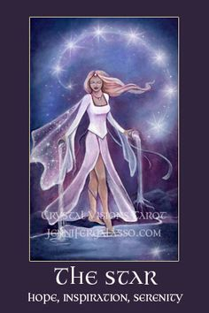 Crystal Visions Tarot: A Magickal Journey to Enlightenment. Fantasy Tarot Deck by Jennifer Galasso. Star Tarot, Tarot Major Arcana, Tarot Card Meanings, Angel Cards, Oracle Cards, Tarot Decks, Deck Of Cards, My Images, Stars