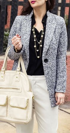 Fall Fashion Single Button Tweed Coat with white pants and white bag - romwe.com