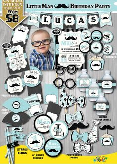 On Sale Little Man Birthday Party Package by ItsAllAboutKidz