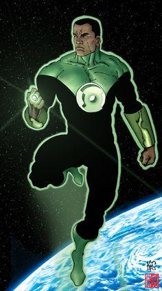 Green Lantern Jon Stewart by =Fastfood Dc Comics Characters, Dc Comics Art, Marvel Dc Comics, Comic Book Heroes, Comic Books Art, Comic Art, John Stewart Green Lantern, Green Lantern Corps, Green Lanterns