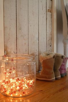 cozy christmas decor: string lights in a jar or glass vase by lydia    Brighten your winter home with color, light, and natural ideas to bring in warmth! Join us on Stagetecture Radio. 1.9.13 - 12pm EST   http://stagetecture.com/episode10