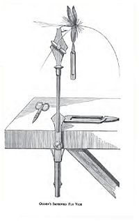 Illustration of a fly tying vice variant.