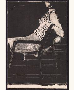 'Seated woman wearing polka-dot blouse', 1967 - Richard Diebenkorn (1922–1993), lithograph