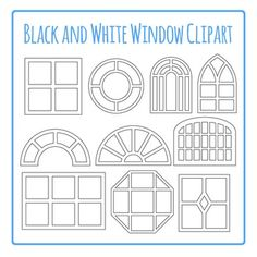 Windows Clip Art Pack Black and White for Commercial Use by Hidesy's Clipart Putz Houses, Fairy Houses, Doll Houses, Window Clipart, Cardboard Crafts, Paper Crafts, Dollhouse Windows, Church Interior Design, House Template