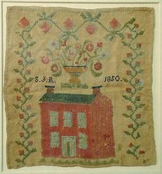 "Wool on linen sampler of a brick house signed ""S.J.R."" - 2"