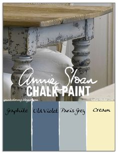 Colorways: Primitive FarmHouse Table Good website for laying Annie Sloan paint. Paint Color Combos, Blue Paint Colors, Chalk Paint Colors, Neutral Colors, Chalk Paint Projects, Chalk Paint Furniture, Couleurs Annie Sloan, Farmhouse Table, Farmhouse Decor